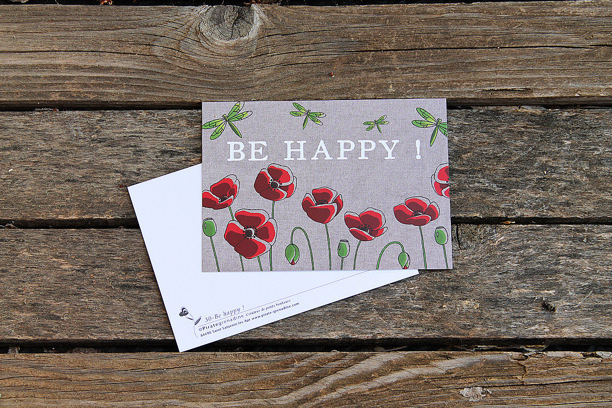 Carte-Postale Be Happy - Coquelicots